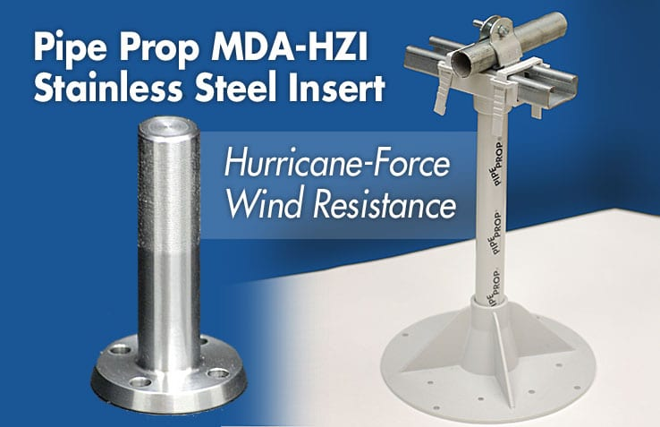 Rooftop Pipe Support and High Wind Resistance - Pipe Prop