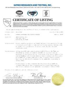 Pipe Prop IAPMO Certification